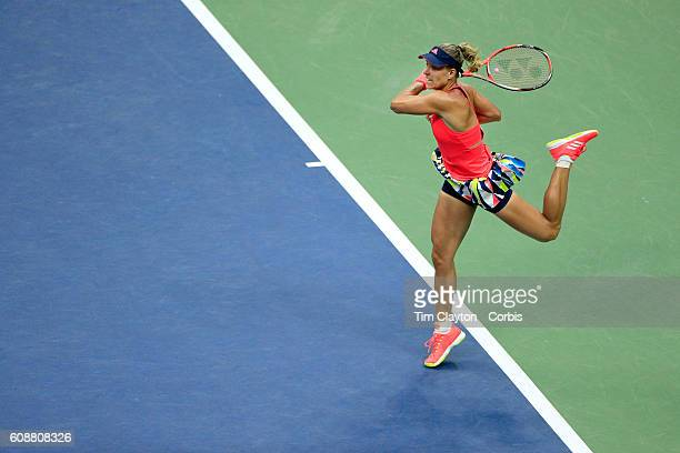 S Open Day 13 Angelique Kerber of Germany in action against Karolina Pliskova of the Czech Republic in the Women's Singles Final on Arthur Ashe...