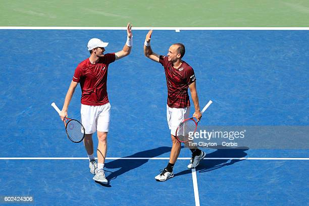 S Open Day 13 Jamie Murray of Great Britain and Bruno Soares of Brazil celebrate after winning the Menu2019s Doubles Final against Pablo Carreno...