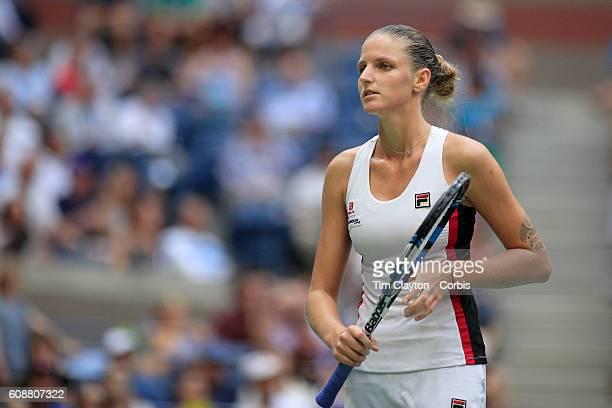 S Open Day 13 Karolina Pliskova of the Czech in action against Angelique Kerber of Germany in the Women's Singles Final on Arthur Ashe Stadium on day...