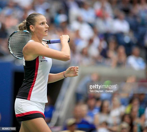 S Open Day 13 Karolina Pliskova of the Czech in action against Angelique Kerber of Germany in the Women's Singles Final on Arthur Ashe Stadium on day...
