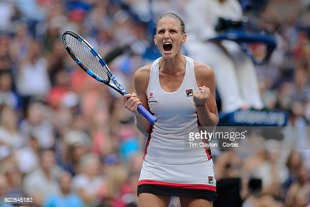 S Open Day 13 Karolina Pliskova of the Czech Republic celebrates a break in the second set against Angelique Kerber of the Germany in the Women's...
