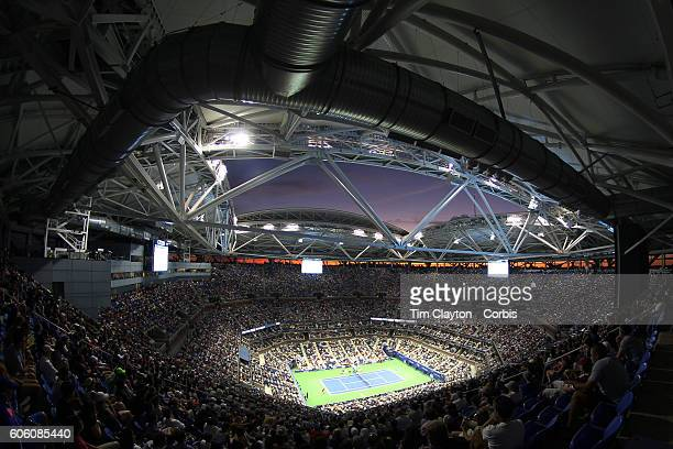 S Open Day 14 A general view of Arthur Ashe Stadium at sunset during the Men's Singles Final between Novak Djokovic of Serbia and Stan Wawrinka of...