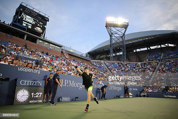 S Open Day 5 Kyle Edmund of Great Britain in action against John Isner of the United States in the Menu2019s Singles round three match on Louis...