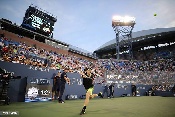 """Open - Day 5 Kyle Edmund of Great Britain in action against John Isner of the United States in the Men""""u2019s Singles round three match on Louis..."""