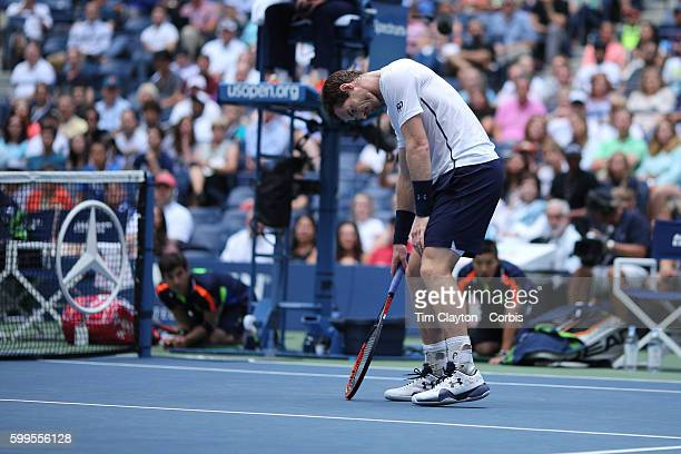 S Open Day 6 Andy Murray of Great Britain in action against Paolo Lorenzi of Italy in the Men's Singles round three match on Arthur Ashe Stadium on...