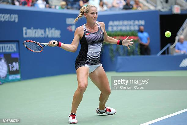 S Open Day 6 Timea Babos of Hungary in action against Simona Halep of Romania in the Women's Singles round three match on Arthur Ashe Stadium on day...