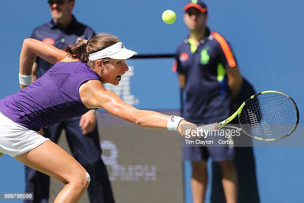 S Open Day 7 Johanna Konta of Great Britain in action against Anastasija Sevastova of Latvia in the Women's Singles round four match on Arthur Ashe...