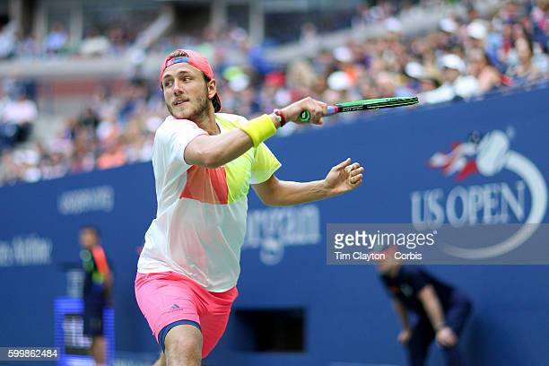 S Open Day 7 Lucas Pouille of France in action against Rafael Nadal of Spain in the Men's Singles round four match on Arthur Ashe Stadium on day six...