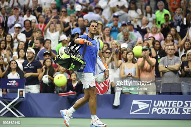 S Open Day 7 Rafael Nadal of Spain leaves the arena after his loss to Lucas Pouille of France in the Men's Singles round four match on Arthur Ashe...