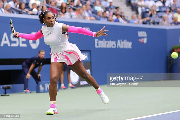 S Open Day 8 Serena Williams of the United States in action against Yaroslava Shvedova of Kazakhstan in the Women's Singles round four match on...