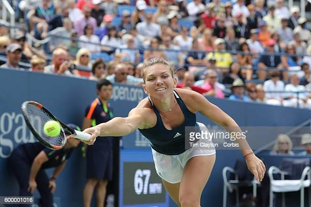 Open - Day 8 Simona Halep of Romania in action against Carla Suárez Navarro of Spain in the Women's Singles round four match on Arthur Ashe Stadium...