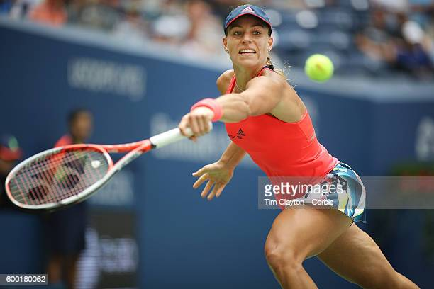 Open - Day 9 Angelique Kerber of Germany in action against Roberta Vinci of Italy in the Women's Quarterfinal match on Arthur Ashe Stadium on day...