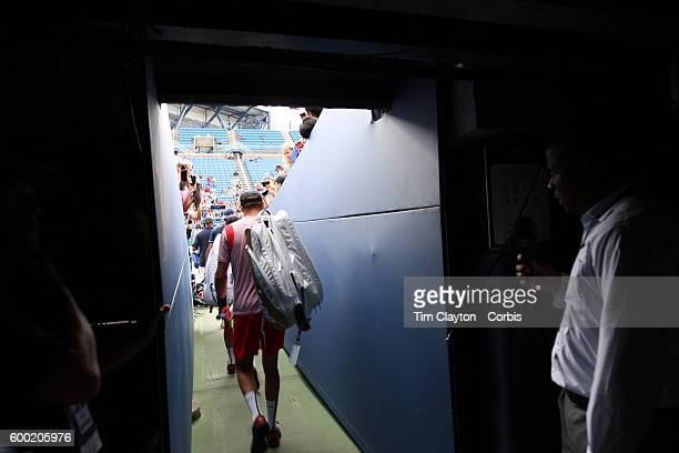S Open Day 9 Bob Bryan and Mike Bryan of the United States head onto the Louis Armstrong Stadium for the stadiums final ever match during their Men's...