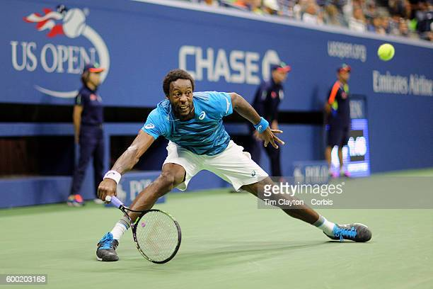 S Open Day 9 Gael Monfils of France in action against Lucas Pouille of France in the Men's Quarterfinal match on Arthur Ashe Stadium on day nine of...