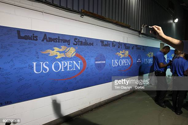 S Open Day 9 Messages of thanks on the wall in the well of Louis Armstrong Stadium which hosted its final ever match on day nine of the 2016 US Open...