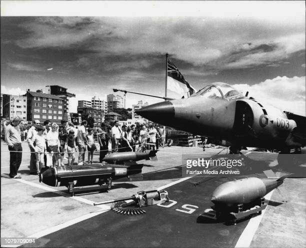 Open day on the HMS InvincibleLooking at a Harrier Jump Jet December 11 1983