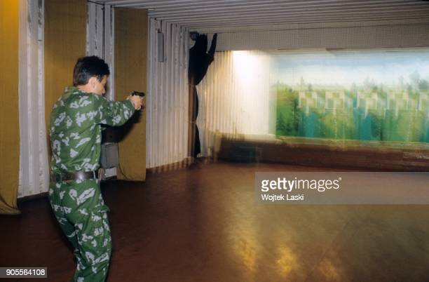 Open days at the KGB school in Moscow, Russia, on July 7th, 1991. Pictured: a shooting training.