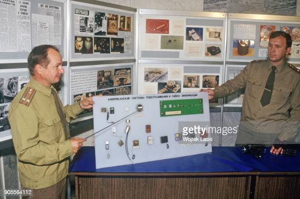 Open days at the KGB school in Moscow, Russia, on July 7th, 1991. Pictured: a display explaining listening-in techniques used by USA agents.