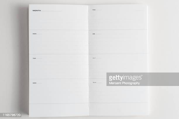 open diary magazine book for white background - blank magazine ad stock pictures, royalty-free photos & images