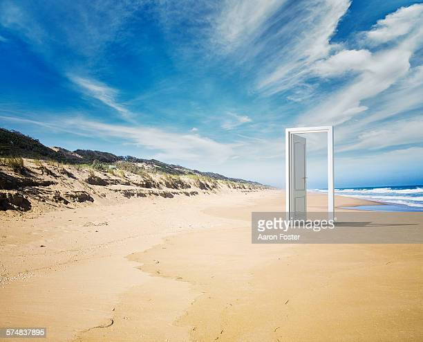 open door beach concept - doorway stock pictures, royalty-free photos & images