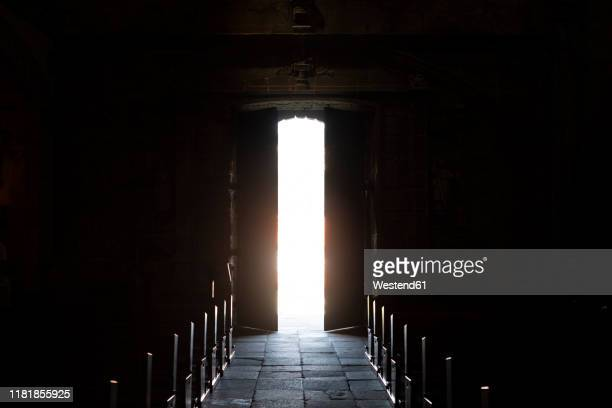 open door in a church in pontevedra, galicia, spain - nave stock pictures, royalty-free photos & images