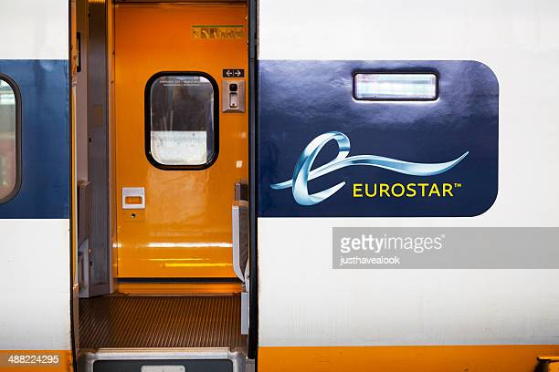 open door of eurostar train - eurostar stock pictures, royalty-free photos & images