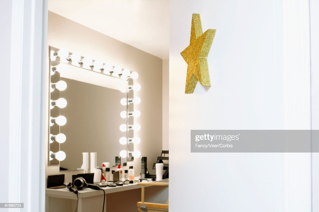 Open door of star's dressing room : Stock Photo