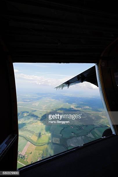 Open door on airplane