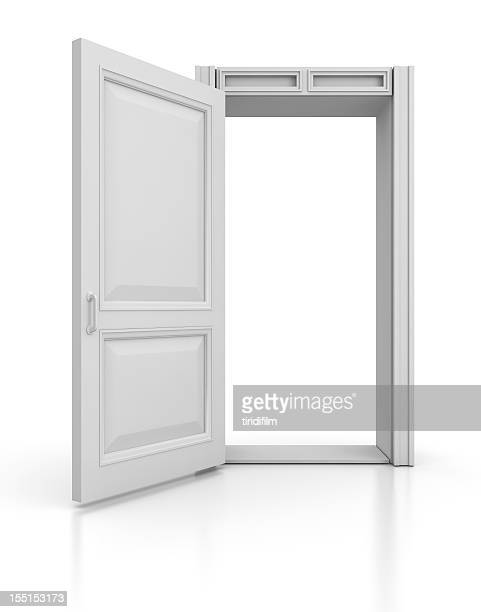 open door standing alone on white background - doorway stock pictures, royalty-free photos & images