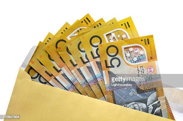 Open envelope of Australian fifty dollar notes