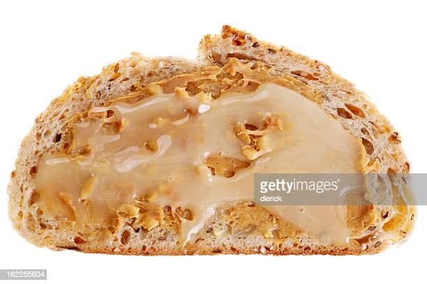 Offene Gesicht Sandwich: Peanut Butter und Honig