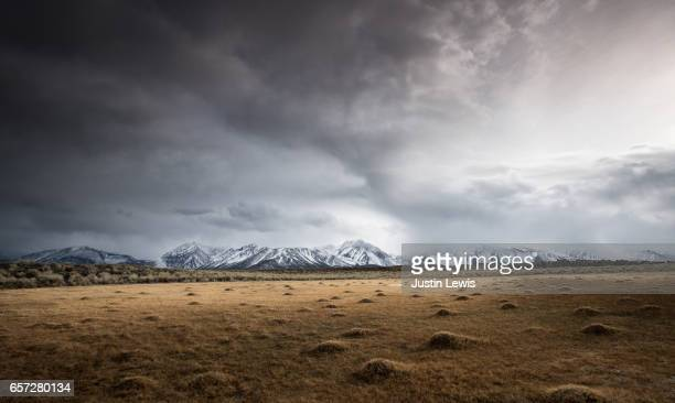 open field shows evidence of geothermal activity, snow-capped mountains in distance, stormy sky - territorio selvaggio foto e immagini stock