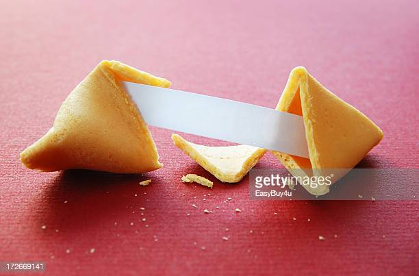 open fortune cookie with blank fortune - luck stock pictures, royalty-free photos & images
