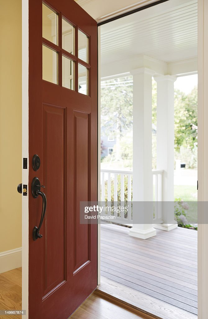 open front door of a new home from the inside stock photo
