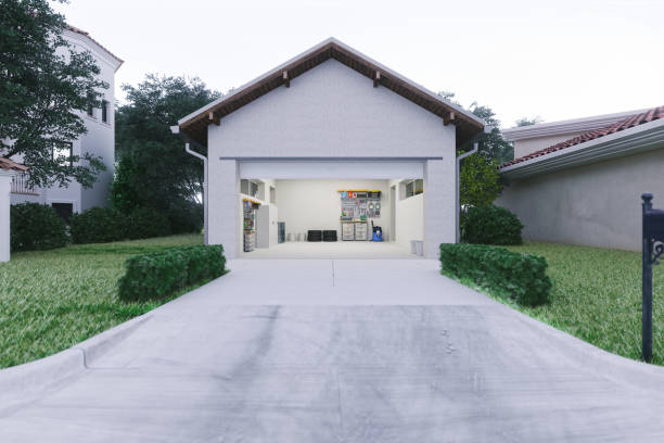 open garage with concrete driveway - house stock pictures, royalty-free photos & images