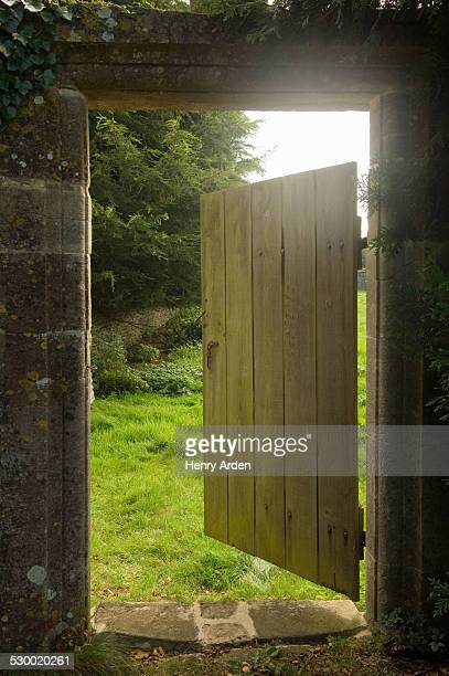 Open gate from walled garden