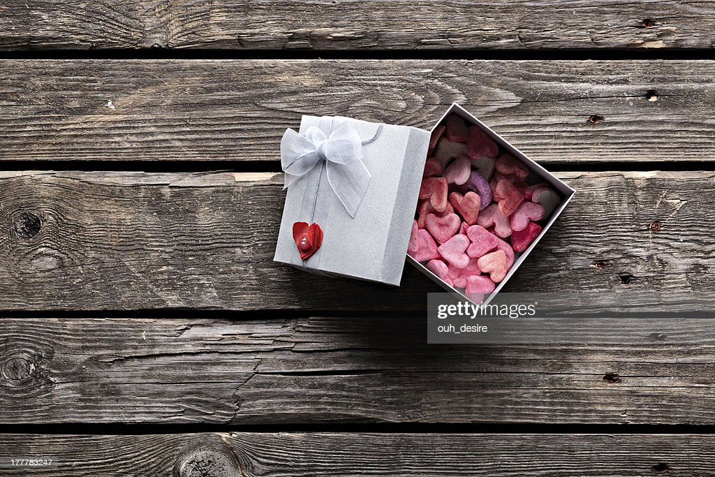 Open Gift Box On Old Vintage Wooden Background Stock Photo ...