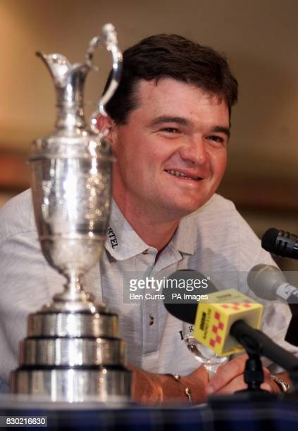 Open Golf champion Paul Lawrie at a press conference in Aberdeen with the claret jug he received following his shock victory at the Open in...