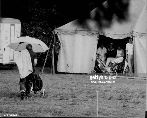 NSW Open Golf Championship at The Royal Sydney Golf ClubPlayers take shelter from the rain on 9th hole October 14 1976