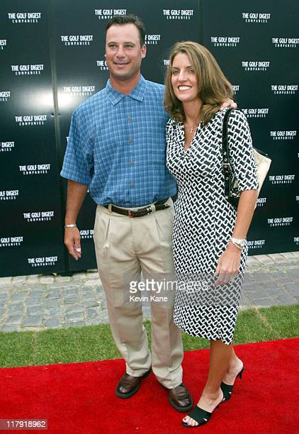 US open golfer Chris Dimarco and wife Amy during Golf Digest Companies Celebrates the 2002 US Open Golf Championship at Oheka Castle in Cold Spring...