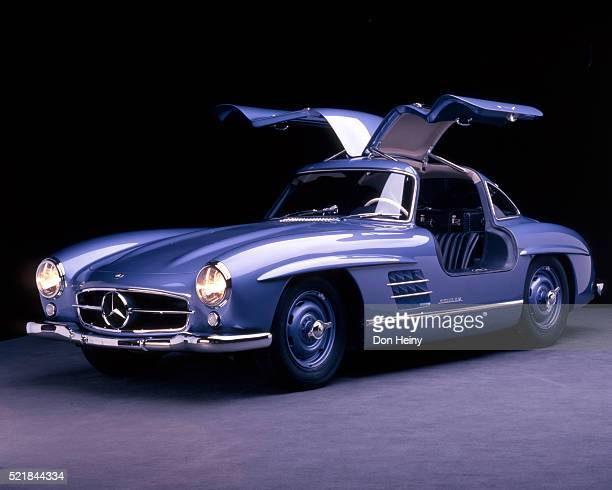 open gullwing doors on a 1956 mercedes-benz 300 sl - mercedes benz stock pictures, royalty-free photos & images