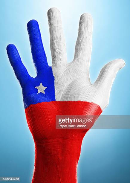 open hand with flag of chile painted on it - bandera chilena fotografías e imágenes de stock
