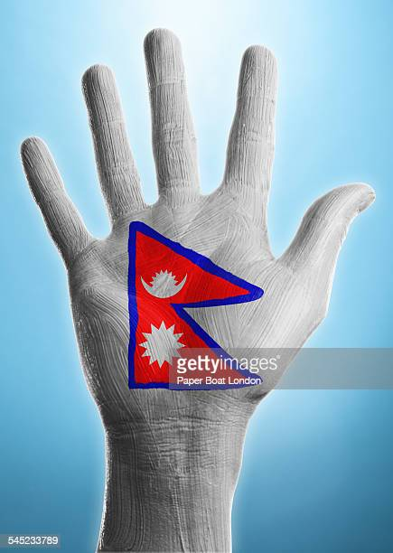open hand with flag of nepal painted on it - nepali flag stock pictures, royalty-free photos & images