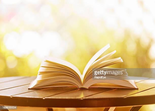 Open hardback book lying on garden table in soft sunshine