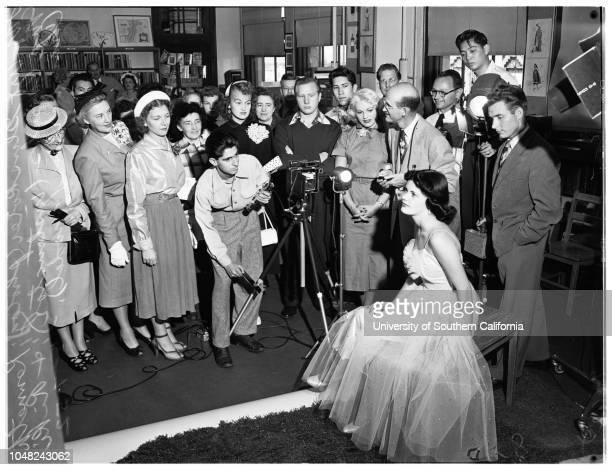 Open house at Frank Wiggins Trade School 07 May 1952 Joan Denney 18 yearsRiki ChamberlainArt GluskoterKenneth McCombsLos Angeles California