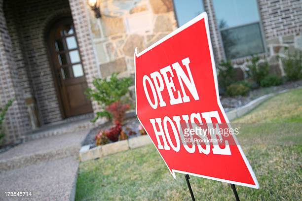 Open House Sign Pointing to New Home