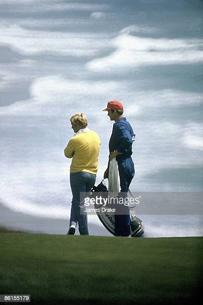 Jack Nicklaus with caddie during Sunday play at Pebble Beach Golf Links Pebble Beach CA 6/18/1972 CREDIT James Drake