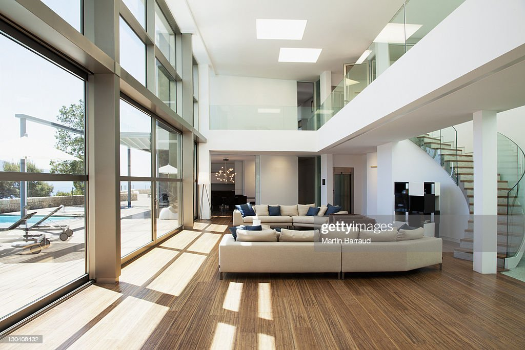 Open living space in modern house : Stock Photo
