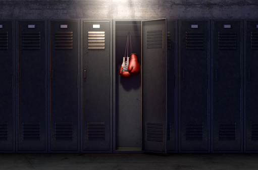 Open Locker And Hung Up Boxing Gloves 917578156