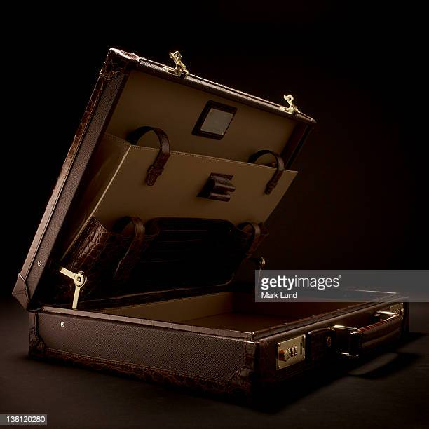 open luxury briefcase - briefcase stock photos and pictures